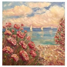 """Pink Floral Beach Seascape"", Original Oil Painting by artist Sarah Kadlic, 30x30"" Gallery Canvas"