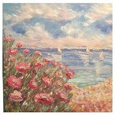 """Pink Floral Beach Seascape"", Original Oil Painting by artist Sarah Kadlic, 30x30"" Gallery Canvas"