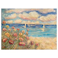 """Impressionist Seascape Wildflowers"", Original Oil Painting by artist Sarah Kadlic, 30""x40"" Stretched Gallery Wrapped Canvas"
