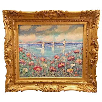 """Impasto Sailboat Seascape"", Original Oil Painting by artist Sarah Kadlic"