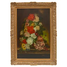 Vintage 1900s Original Oil Painting Still Life Flowers Signed Original Oil Painting Large Gilt Wood Frame
