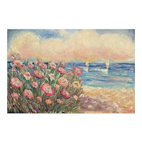 """""""Impressionist Floral Sailboats Seascape"""", Original Oil Painting by artist Sarah Kadlic, 36"""" x 24"""" Stretched Canvas"""