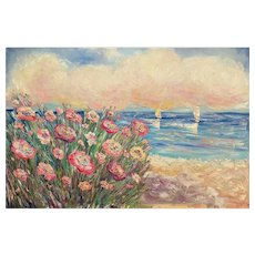 """Impressionist Floral Sailboats Seascape"", Original Oil Painting by artist Sarah Kadlic, 36"" x 24"" Stretched Canvas"