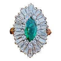 1950s 14k Gold 3.30ct VS Marquise Diamond Baguette Emerald Ballerina Ring Item Description