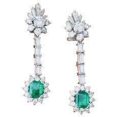 Gorgeous Estate Vintage 1950s 18k Gold Diamond Emerald Dangle Pendant Earrings