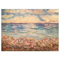 """HUGE """"Impressionist Impasto Seascape"""", Original Oil Painting by artist Sarah Kadlic, 40"""" x 30"""""""