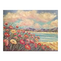 """Impressionist Floral Seascape"", Original Oil Painting by artist Sarah Kadlic, 40x30"" Gallery Stretched Canvas"