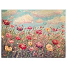 """Huge """"Impasto Wildflowers"""", Original Oil Painting by artist Sarah Kadlic, 40""""x 30"""""""