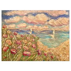 """Impressionist Wildflowers Beach Seascape"", Original Oil Painting by artist Sarah Kadlic, 40x30"" Gallery Style Canvas"