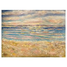 "HUGE ""Impressionist Impasto Seascape"", Original Oil Painting by artist Sarah Kadlic, 40"" x 30"" Gallery Wrapped Canvas"