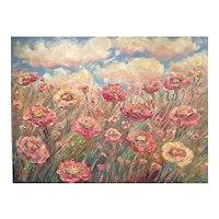 "Huge ""Impressionist Floral Wildflowers"", Original Oil Painting by artist Sarah Kadlic, 40x30 Gallery Stretched Canvas"