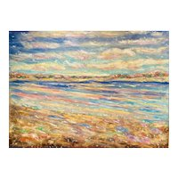 "HUGE 48x36"" Canvas ""Impressionist Sunlit Seascape"", Original Oil Painting by artist Sarah Kadlic."