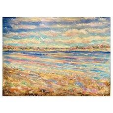 "HUGE 48x36"" Canvas ""Impressionist Sunlit Seascape"", Original Oil Painting by artist Sarah Kadlic."