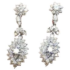 Impressive 14k Gold 4.00 Carat F VS Diamond Dangle Drop Pendant Earrings