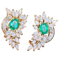 Impressive Vintage Estate 14k Gold 5.60ctw Emerald Diamond Cluster Drop Earrings