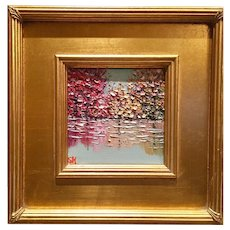 """Abstract Trees on the Water Landscape"", Original Oil Painting by artist Sarah Kadlic, 13x15"" Gilt Leaf Frame"
