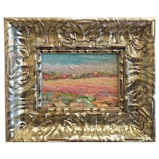 """Abstract Landscape Impasto II"", Original Oil Painting by artist Sarah Kadlic, 8x6"" Silver Gilt Leaf Frame"