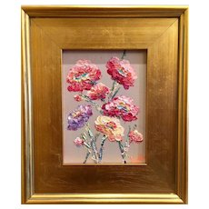 """Abstract Wildflowers II Vertical"", Original Oil Painting by artist Sarah Kadlic, Gilt Wood Framed 9x12"""