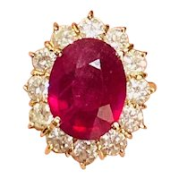 Vintage 1980s Estate 14k Gold 5.23ct Ruby (Treated) VS 1.80ct Diamond Cocktail Ring