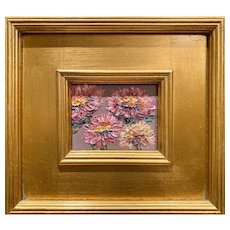 """Abstract Impressionist Wildflowers "", Original Oil Painting by artist Sarah Kadlic, 9""x11"" Silver Gilt Wood Framed"