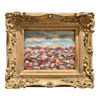 """Abstract Impasto Landscape"", Original Oil Painting by artist Sarah Kadlic, Gilt Framed 13""x15"""