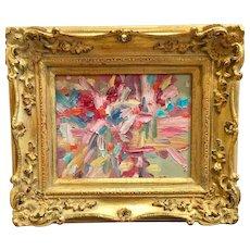 """Abstract Impasto Firework"", Original Oil Painting by artist Sarah Kadlic, 8x10"" Gilt Leaf Wood Frame"