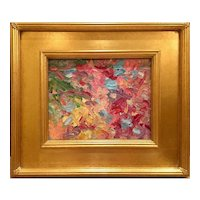 """Abstract Impasto Colors"", Original Oil Painting by artist Sarah Kadlic, 8x10"" with Gilt Leaf Frame"