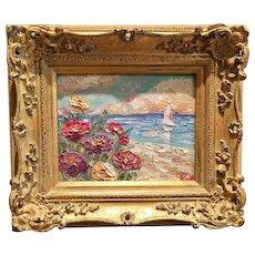 """Abstract Seascape Beach & Sailboat"", Original Oil Painting by artist Sarah Kadlic, 8x10"" European Carved Gilt Wood Frame"
