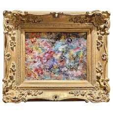 """Abstract Chunky Impasto Palette"", Original Oil Painting by artist Sarah Kadlic, 15""x13"" Gilt Leaf French Frame"
