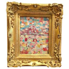 """""""Abstract Impasto Cityscape"""", Original Oil Painting by artist Sarah Kadlic, 8x10"""", Gilt Wood Carved French Frame"""