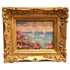 """""""Abstract Seascape Floral"""", Original Oil Painting by artist Sarah Kadlic, 8x10"""" with Carved French Gilt Wood Frame"""