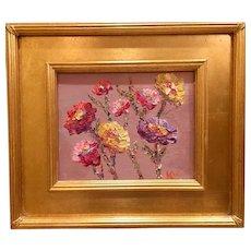 """Abstract Wildflowers II Study"", Original Oil Painting by artist Sarah Kadlic, 8x10"" Gilt Leaf Wood Frame"