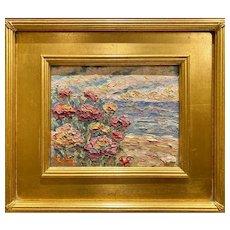 """Abstract Seascape Flowers"", Original Oil Painting by artist Sarah Kadlic with 15x13"" Gilt Plein Air Frame"