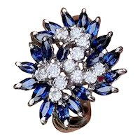 Vintage 1950s Estate 18k Gold 2.00ct Sapphire VVS Diamond Cocktail Ring