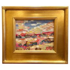 """Abstract Landscape Reflections"", Original Oil Painting by artist Sarah Kadlic, 8x10"" Gilt Leaf Frame"
