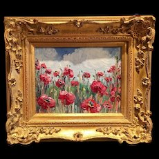 """Abstract Impasto Red Poppies"", Original Sarah Kadlic Oil Painting, 8x10"" Gilt Framed"
