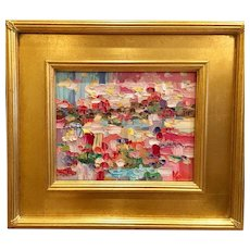 """Abstract Chunky Impasto Landscape"", Original Oil Painting by artist Sarah Kadlic, 8x10"" Gilt Leaf Frame"