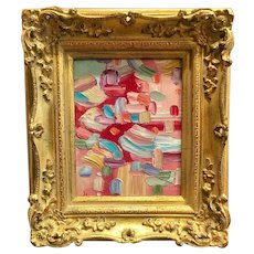"""""""Abstract Impasto Intersections"""", Original Oil Painting by artist Sarah Kadlic, 8x10"""" Gilt Leaf Frame"""