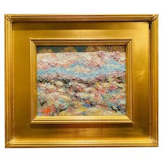 """Abstract Expressionist Impasto Fields"", Original Oil Painting by artist Sarah Kadlic, 13"" x 15"" Gilt Leaf Wood Frame"
