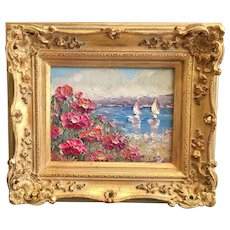 """Impressionist Seascape View"", Original Oil Painting by artist Sarah Kadlic, 8x10"" with European Gilt Leaf Frame"