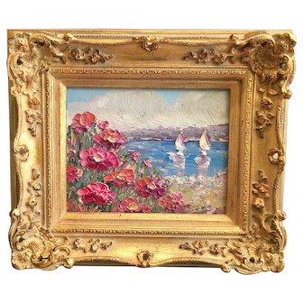 """Impressionist Seascape View"", Original Oil Painting by artist Sarah Kadlic, 8x10"" with European Gilt Leaf Frame"