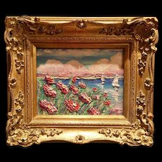 """Abstract Pink Wildflowers Seascape"", Original Oil Painting by artist Sarah Kadlic, 8x10"" French Gilt Frame"