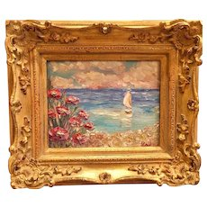 """Seascape Pink Floral Impasto"", Original Oil Painting by artist Sarah Kadlic, 8x10"" Gilt Leaf European Carved Frame"