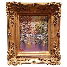 """Abstract Trees on the Water Landscape"", Original Oil Painting by artist Sarah Kadlic, 8x10 +Gilt Leaf Frame"