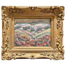 """Abstract Tuscany Impasto"", Original Oil Painting by artist Sarah Kadlic, 8x10"" French Gilt Leaf Wood Frame"