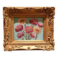 """Abstract Wildflowers Floral"", Original Oil Painting by artist Sarah Kadlic, 8x10"" Gilt Leaf European Wood Frame"