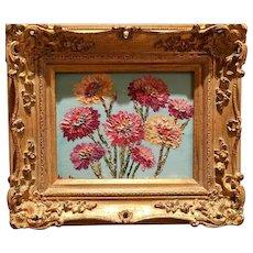 """Abstract Wildflowers Floral"", Original Oil Painting by artist Sarah Kadlic, 8x10"" Gilt Leaf European Wood Frame"
