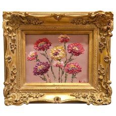 """""""Abstract Wildflowers"""", Original Oil Painting by artist Sarah Kadlic, 8x10"""" with Gilt Wood Carved French Frame"""