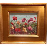 """""""Abstract Fields of Flowers"""", Original Oil Painting by artist Sarah Kadlic, 8x10"""" with Gilt Wood Frame"""