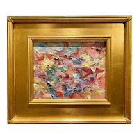 """Abstract Chunky Impasto Palette"", Original Oil Painting by artist Sarah Kadlic, 15""x13"" Gilt Leaf Plein Air Wood Frame"